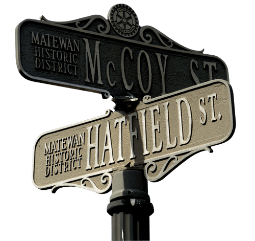 Hatfield and McCoy street signs in Matewan